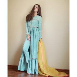 Aque Blue Color Anarkali Dress With Yellow Color Dupatta-Kaleendi
